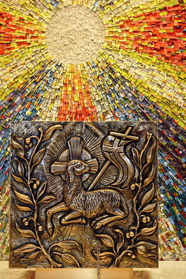 Photograph - Sunburst Mosaic At Side Altar For Tabernacle With Bronze Bas Rel by Reimar Gaertner