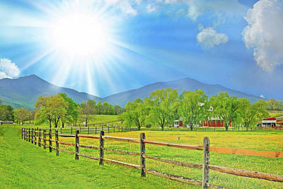 Photograph - Sunburst Over Peaks Of Otter, Virginia by The American Shutterbug Society