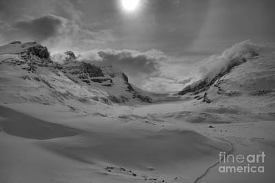 Photograph - Sunburst Over The Columbia Icefield Black And White by Adam Jewell