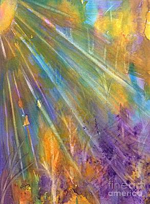 Mystical Landscape Painting - Sunburst Through The Forest Abstract  by Ellen Levinson