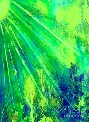 Painting - Radiant Green Sunburst Forest  by Ellen Levinson