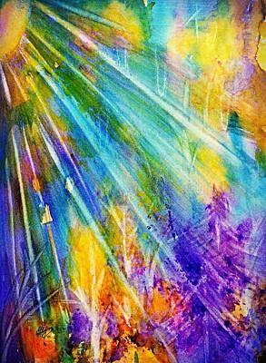 Painting - Psychedelic Forest Sunburst  by Ellen Levinson