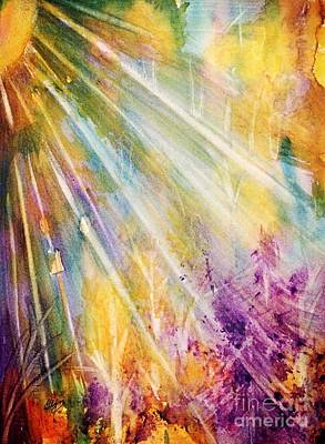 Painting - Radiant Sunburst Abstract by Ellen Levinson