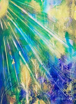 Painting - Sunburst Blue Forest Abstract  by Ellen Levinson
