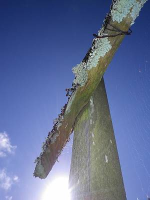 Photograph - Sunburst Weathered Post by Richard Brookes