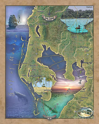 Painting - St Petersburg, Sun Coast Map, Map St Petersburg Fl, Florida Map Art, St. Petersburg Art, Florida Gif by Lisa Middleton