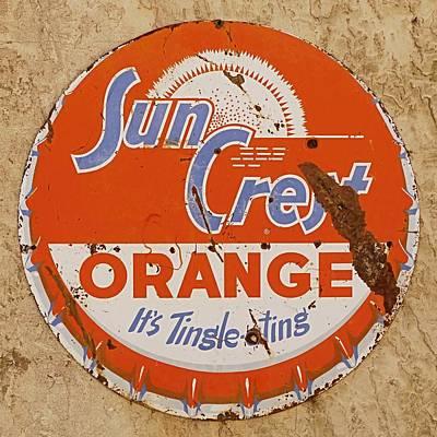 Photograph - Suncrest Orange Soda Cap Sign by Dutch Bieber