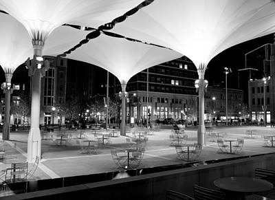 Photograph - Sundance Square Umbrellas Bw by Rospotte Photography