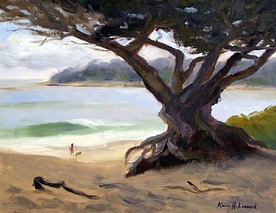 Dogs On Beach Painting - Sunday Afternoon Carmel Beach by Karin  Leonard