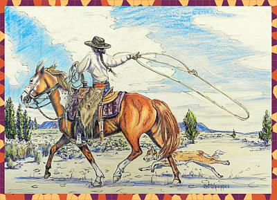 Cowgirl And Dog Art Print