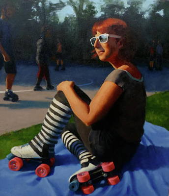 Rollerskate Painting - Sunday At Golden Gate Park by Adriane Brown