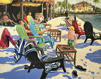 Painting - Sunday At The Yacht Club by Alan Lakin