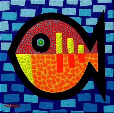 Colourful Fish Painting - Sunday Fish by John  Nolan