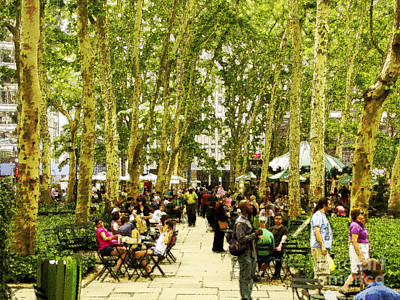 Sunday In Bryant Park Art Print by Phil Welsher