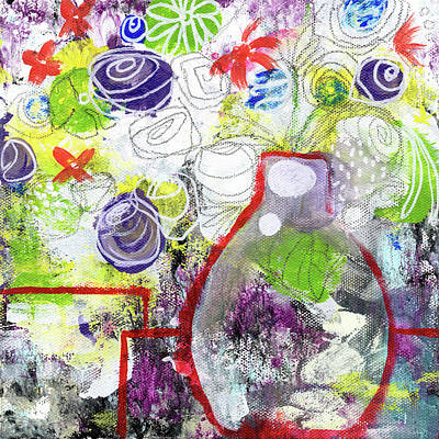 Abstract Rose Wall Art - Painting - Sunday Market Flowers 3- Art By Linda Woods by Linda Woods