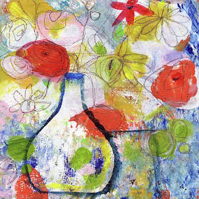 Abstract Expressionist Painting - Sunday Market Flowers- Art By Linda Woods by Linda Woods