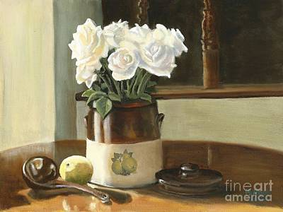 Art Print featuring the painting Sunday Morning And Roses - Study by Marlene Book