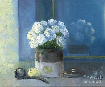 Painting - Sunday Morning And Roses - Blue by Marlene Book