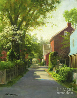 Small Town Scene Painting - Sunday Morning, George Street by David Henderson