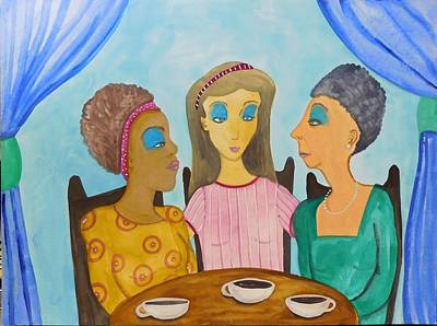 Painting - Sunday Morning Meeting Of The You Can Never Wear Too Much Blueeyeshadow Guild  by JoLynn Potocki
