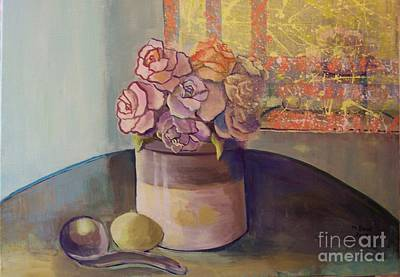 Painting - Sunday Morning Roses Through The Looking Glass by Marlene Book