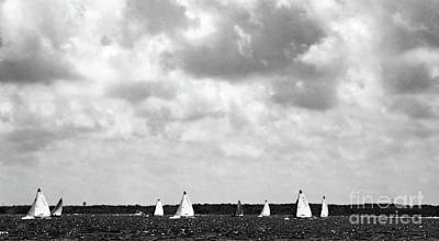Photograph - Sunday Regatta In Bw by Mary Haber