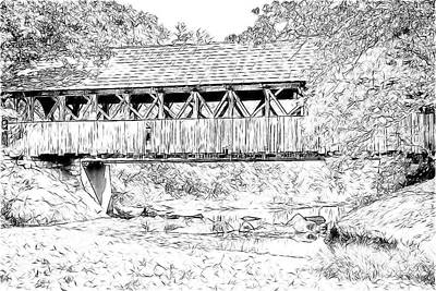Digital Art - Sunday River Covered Bridge Sketch by John Haldane