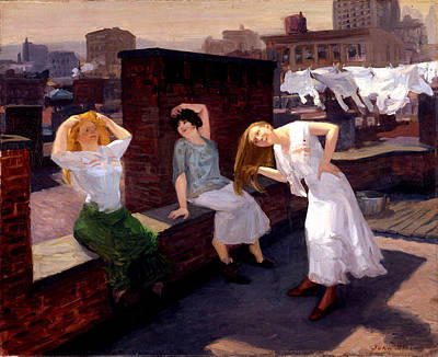 Sunday Women Drying Their Hair Art Print