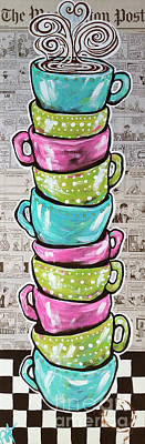 Multi-media Painting - Sunday's Cup A Joe Pink by Jackie Carpenter