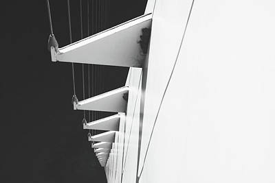 Photograph - Sundial Bridge Redding C Aa Close Up B And W by Joyce Dickens