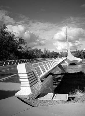 Photograph - Sundial Bridge Redding Ca 2017 B And W by Joyce Dickens
