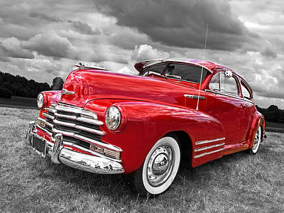Photograph - Sundown - 1948 Red Chevy by Gill Billington