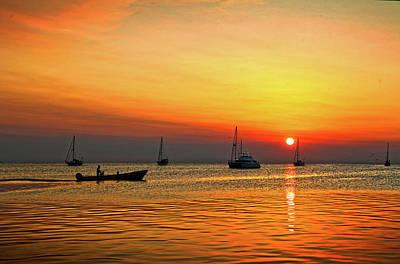 Photograph - Sundown At Iguana Reef Inn On Caye Caulker Belize by Lee Vanderwalker