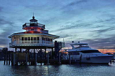Photograph - Sundown At The Choptank River Light by Ben Prepelka