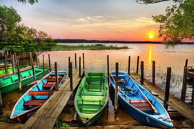 Photograph - Sundown At The Docks by Debra and Dave Vanderlaan