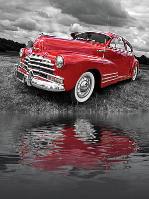 Photograph - Sundown By The Lake - 1948 Red Chevy by Gill Billington