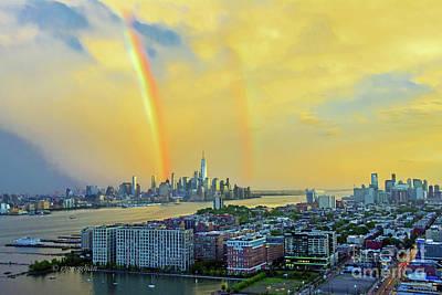Cargo Boats - Sundown Double Rainbow NYC-NJ by Regina Geoghan