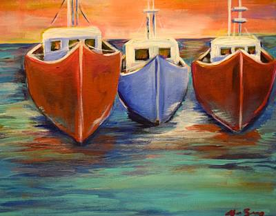 Sundown Fishing Art Print by Anne Seay