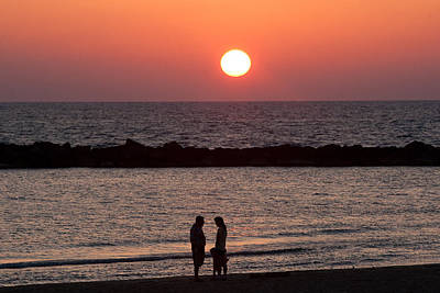 Sundown On Tel Aviv Beach Art Print by Paco Feria