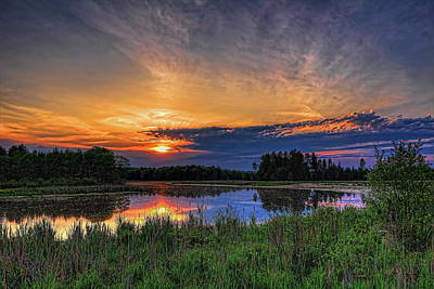 Farm House Style - Sundown Over Bentley Pond by Dale Kauzlaric