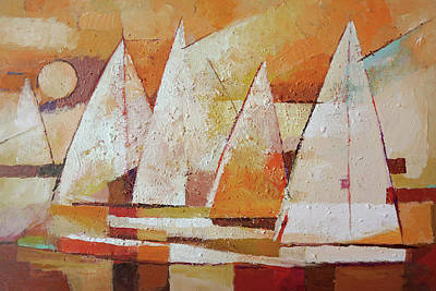 Colorplay At The Sea Painting - Sundown Regatta by Lutz Baar