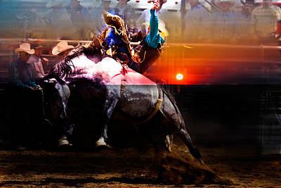 Sundown Saddle Bronc Rider Art Print by Mark Courage
