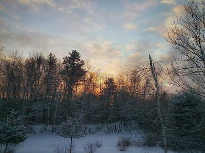 Photograph - Sundown Winter New England by Mary Capriole