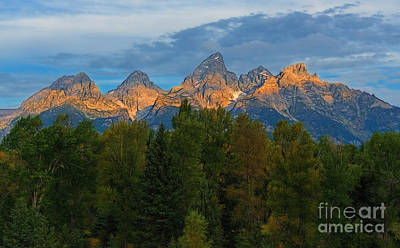 Photograph - Sundrise On Grand Tetons by Sharon Seaward
