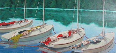 Painting - Sunfish Sail Boats by Tony Caviston