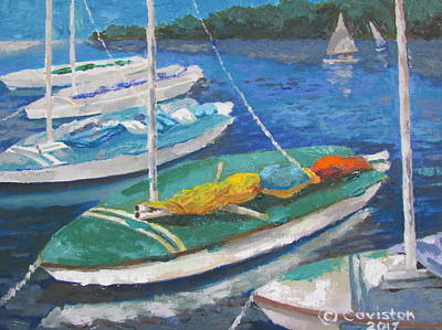 Painting - Sunfish Sailboat by Tony Caviston