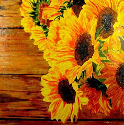 Wall Art - Painting - Sunflower 1 by Laura Gabel