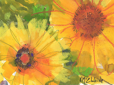 Big Sunflowers Watercolor And Pastel Painting Sf018 By Kmcelwaine Art Print by Kathleen McElwaine