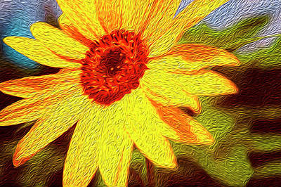 Nature Abstract Digital Art - Sunflower Abstract by Les Cunliffe