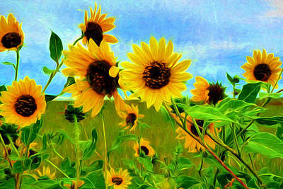 Digital Painting - Sunflower Along The Road by Mitchell R Grosky